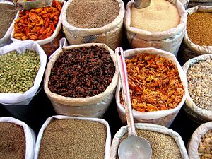 Spices in Mapusa Market, Goa, India.